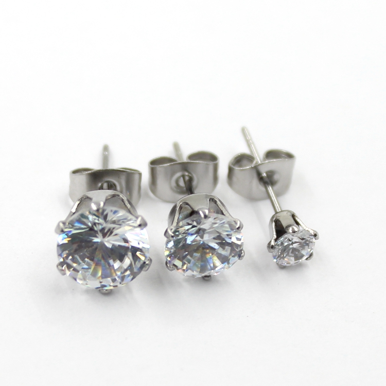 Sliver Plated CZ Diamond Stud Fashion Jewelry Earrings