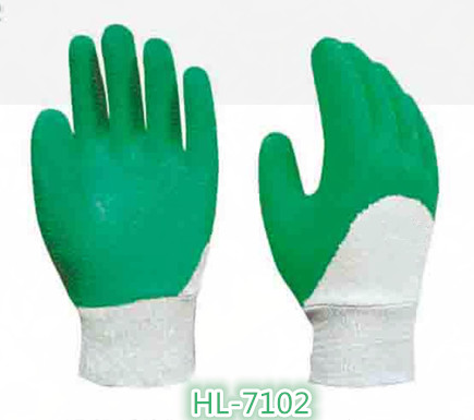 Cotton Jersey Latex Wave Crinkle Glove with Green Color