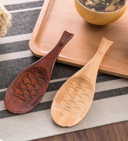 Fish Shape Natural Wooden Rice Spoon Spatulas