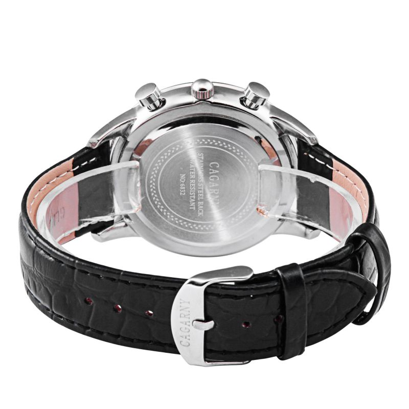6832multi-Function Wristwatch with Pushers Ss Buckle Leather Strap