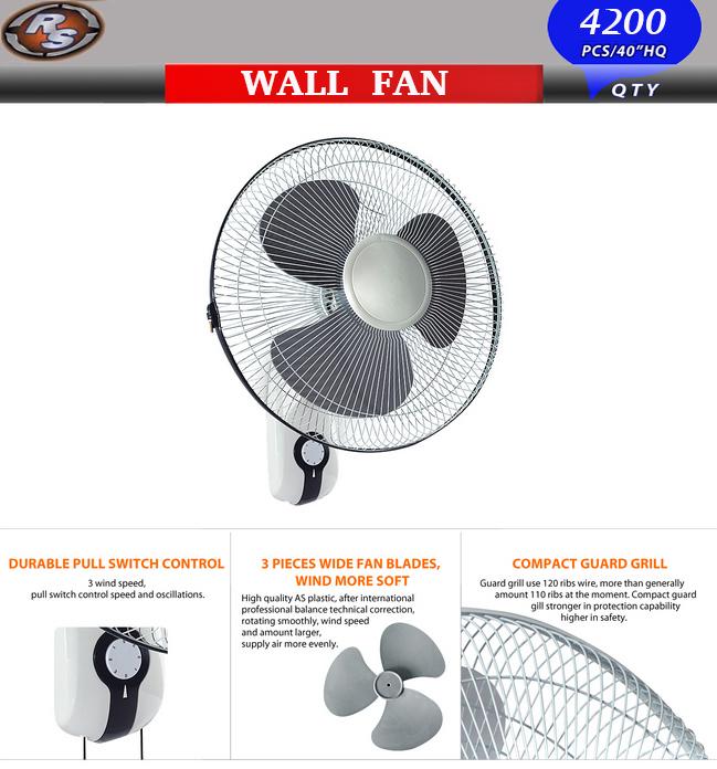 16'' Wall Fan -Wall Mount Oscillating Quiet Fan