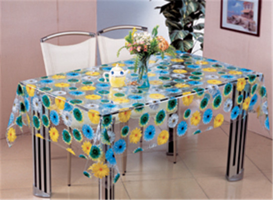 Printed Pattern and PVC Material, Oilproof, Waterproof Feature Transparent Table Cloth