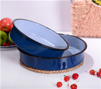 Enamel Round Food Tray Set
