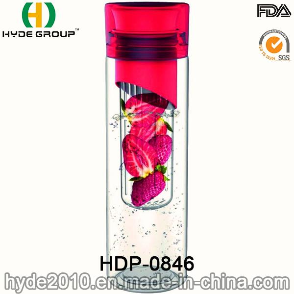 700ml Wholesales Fruit Infuser Tritan Water Bottle, BPA Free Plastic Fruit Infusion Bottle (HDP-0846)