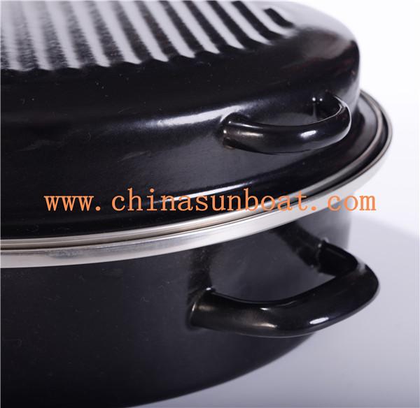 Sunboat Big Heavy Enamel Roaster Black Color Daily Use Kitchenware/ Kitchen Appliance