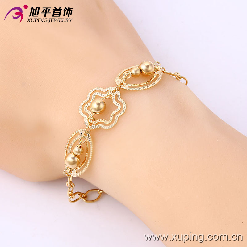 Xuping Elegant 18k Gold-Plated Bead Imitation Jewelry Bracelet (74166)