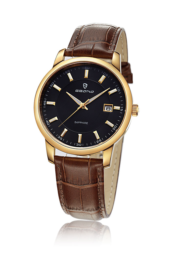 Cheap Leather Strap Sapphire Couple Wrist Watch
