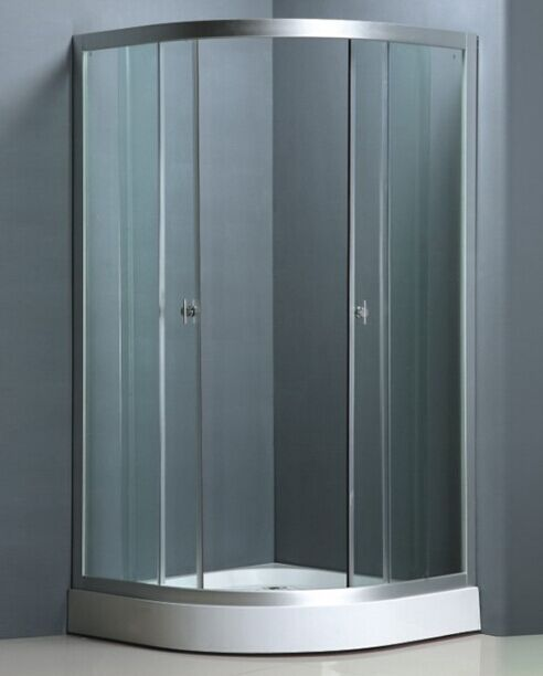 Clear Glass Satin Aluminium Shower Enclosure (ADL-8012)