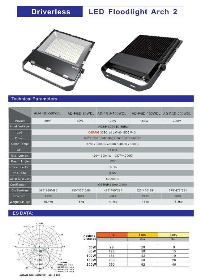 High Quality High Power 200W Driverless LED Flood Light 5 Years Warranty