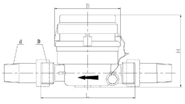 Single Jet Dry Type Vane Wheel Plastic Water Meter (LXSC-13D8s)
