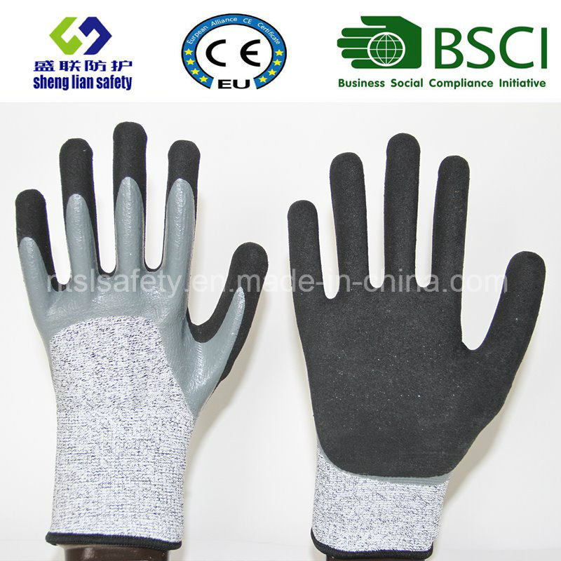 13G Hppe/Glass Fiber Liner Double Dipped Sandy Nitrile Coating Safety Gloves