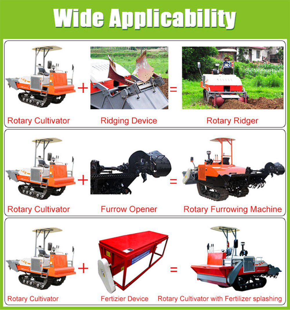 61HP Self-Propelled Crawler Type Rotary Cultivator Avaliable with Opener/Riddger/Harrow/Seeding Machine