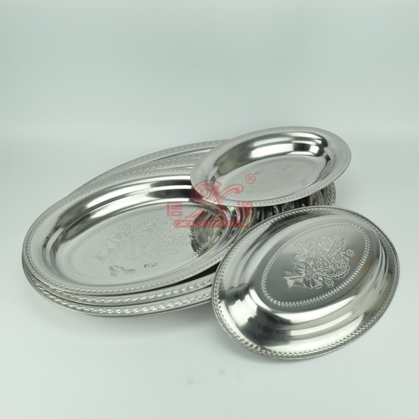 Stainless Steel Deep Oval Serving Plate (FT-00807)