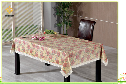 Vinyl Gold Embossed Tablecloth with Flannel Backing