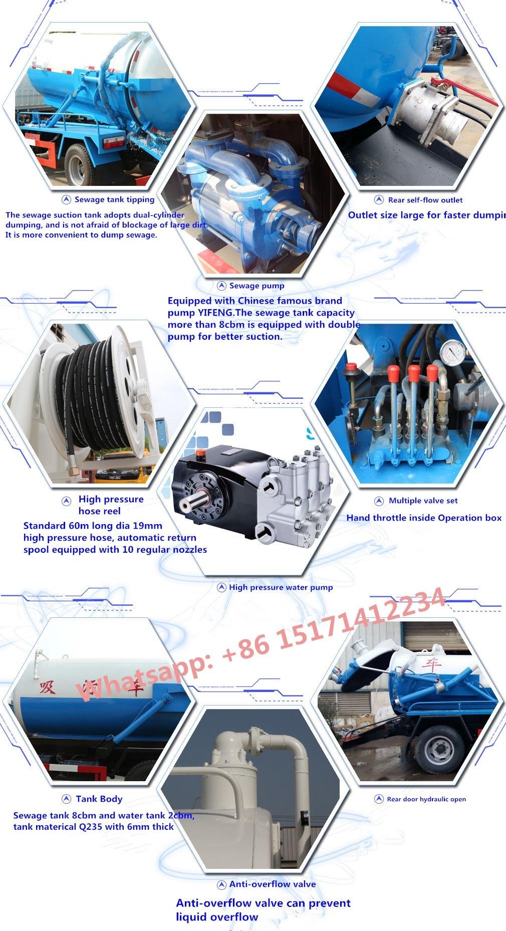 HOWO 4X2 Vacuum Sewage Suction Truck 6000L Sewel Jetting Truck Sewage Drainage Truck for Sale