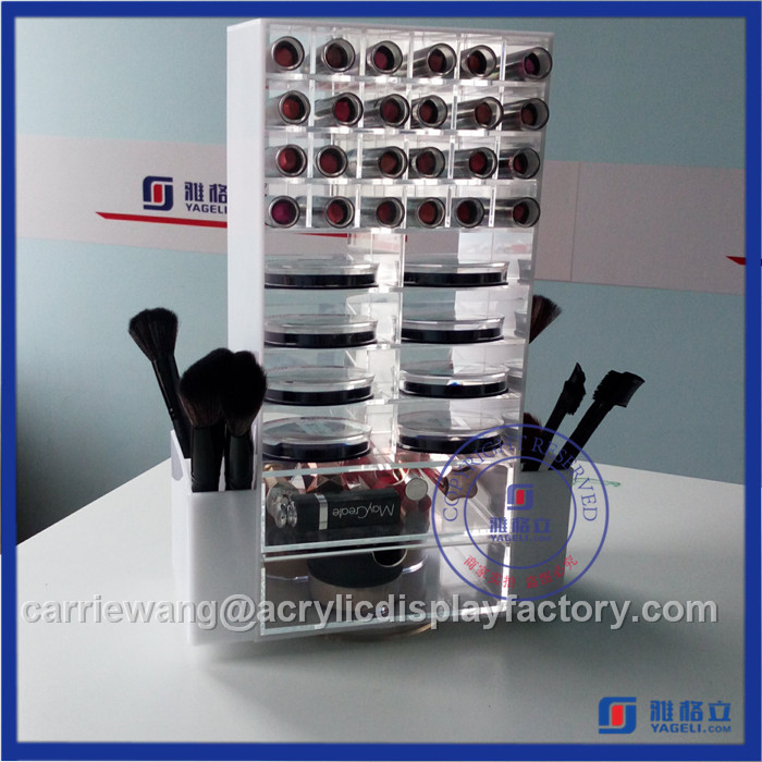 Fashionable Black Rotating Acrylic Lipstick Stand with 48 PCS