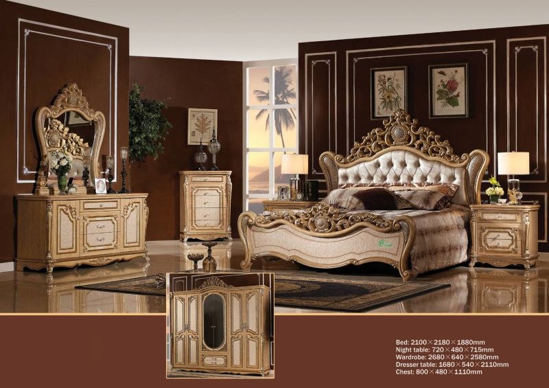Home Furniture with Antique King Bed Wardrobe (W810)
