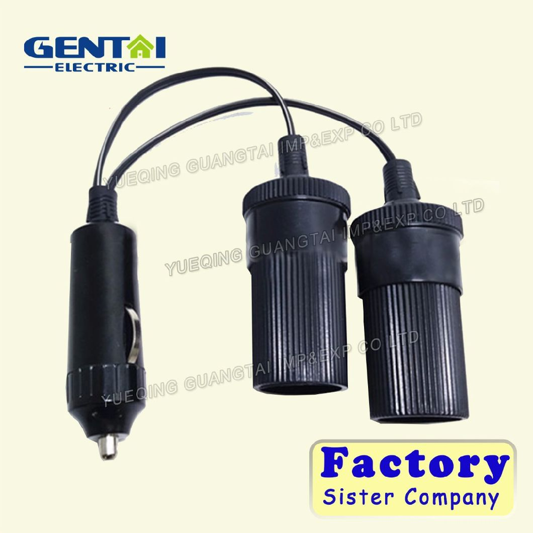 Hot Sale Auto Cigarette Plug with Fuse to Auto Cigarette Inline Socket, Car Charger Spiral Cable