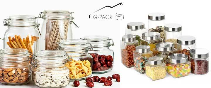 Stackable High Borosilicate Glass Canisters with Silicone Rubber Seal