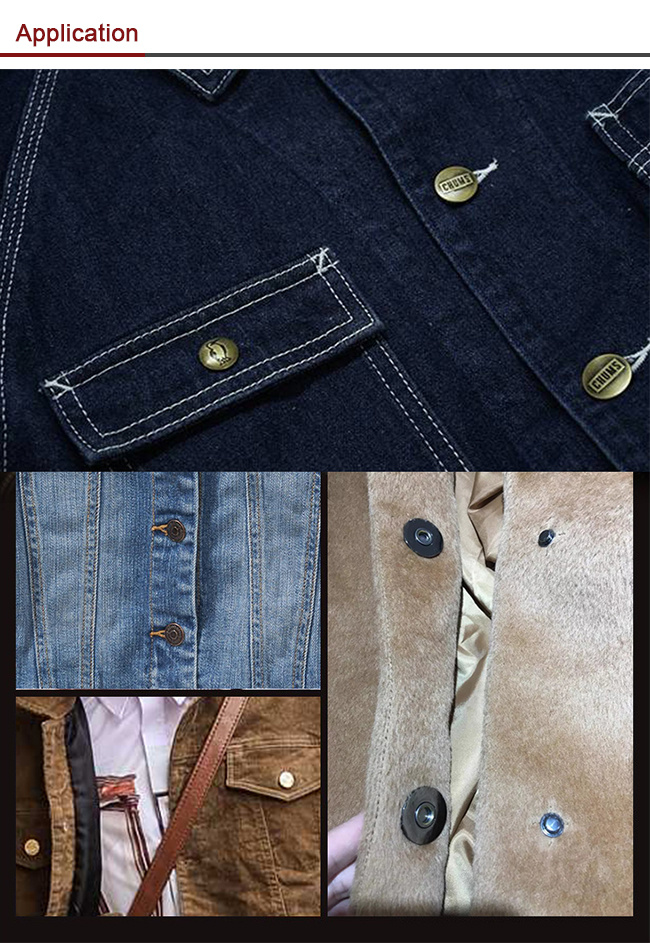 Trousers Printing Monocolor Round Prong Snap Clothes Metal Button