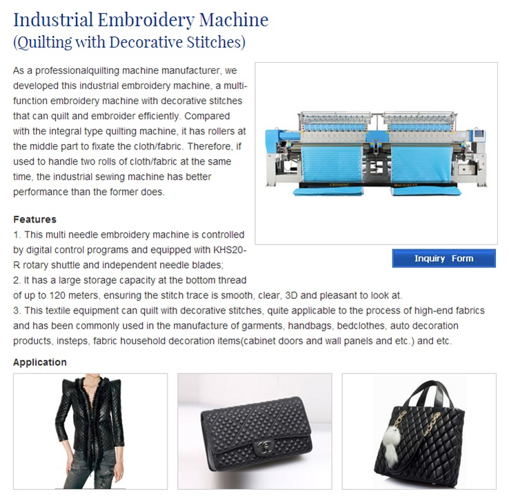 Cshx234b High Speed Multihead Quilting and Embroidery Machine