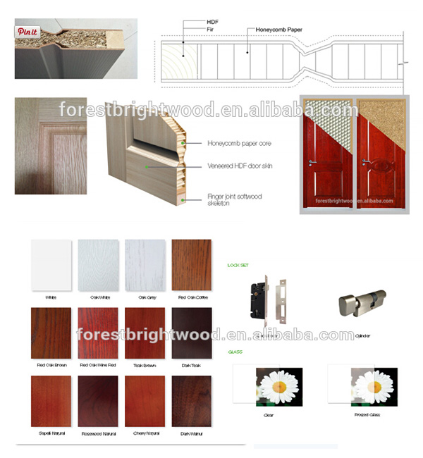 2 Panel Veneer Interior Moulded Wooden Doors Design with Fsc S9-609