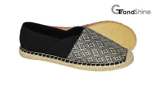 Women's Espadrille Raffia & Canvas Flat Casual Shoes