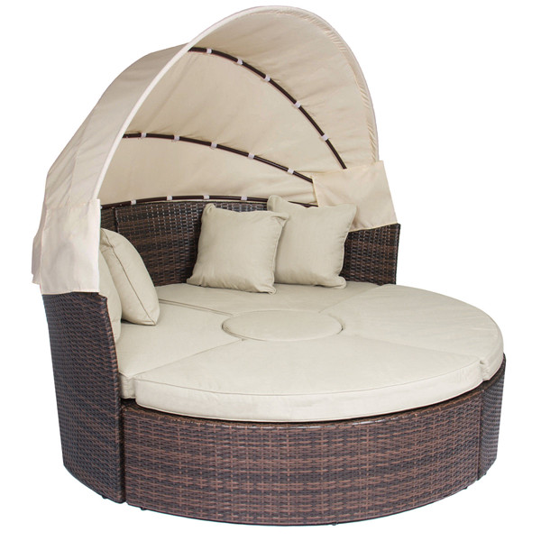 Rattan Outdoor Daybeds with Canopy Sand Cushions