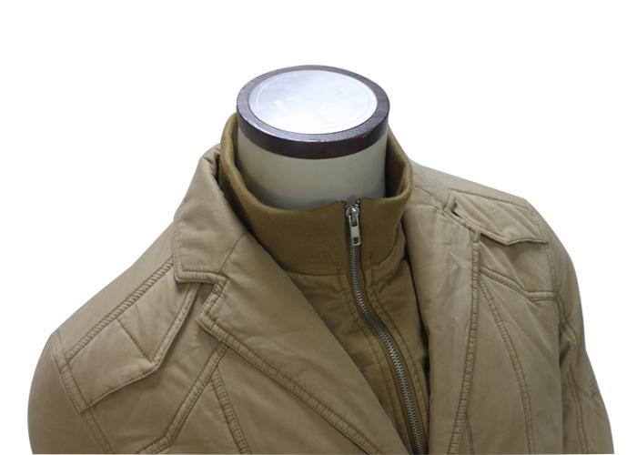 Men Khaki Color Double Stand Collar Winter Jacket