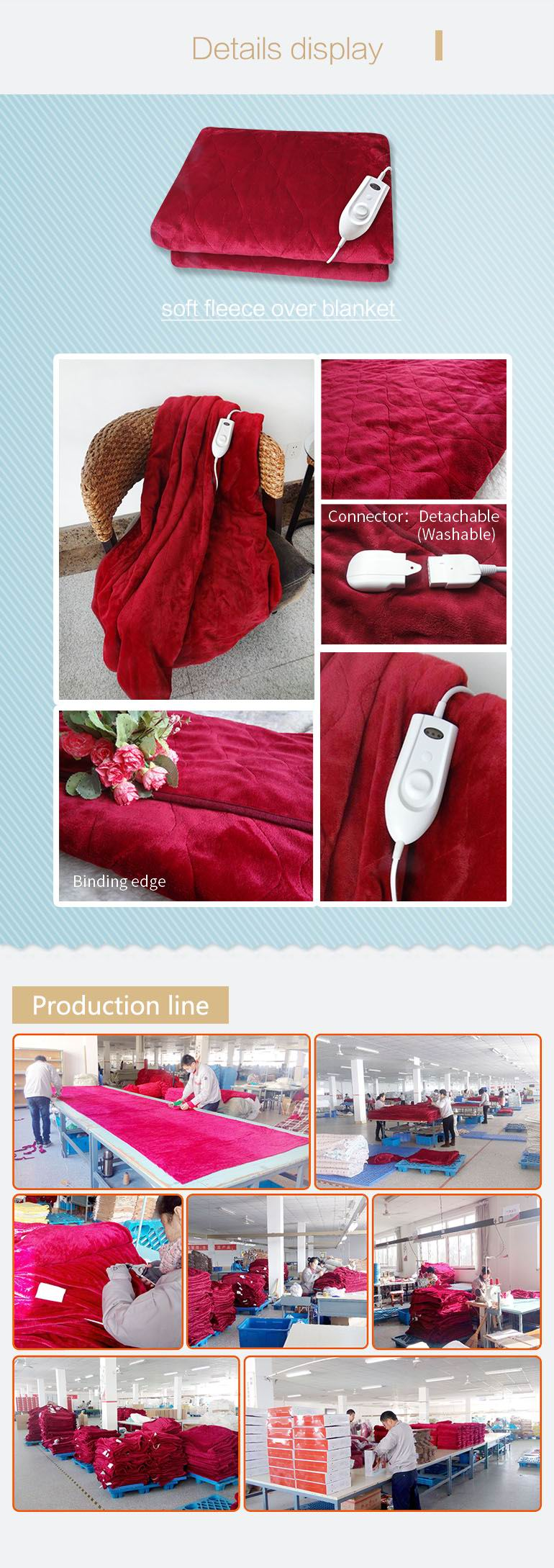 Newest Digital Controller Electric Throw Blanket with Ce Certificate