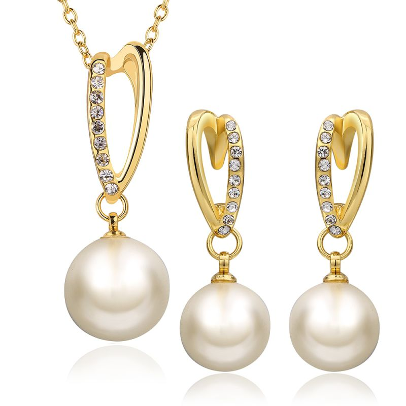 Eco-Friendly Jewelry Set Drop Shape Pearl Necklace and Earring