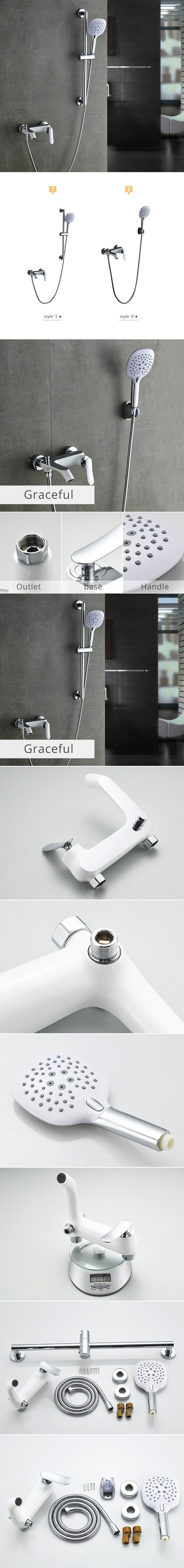 Flg 3 Function White Painting Chromed Shower Sets with Hand Shower and Head Shower