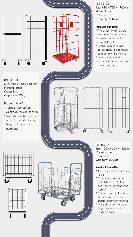 Zinc Plated Warehouse Storage Laundry Hand Cart