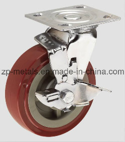 4inch PU Heavy-Duty Swivel with Brake Caster Wheel