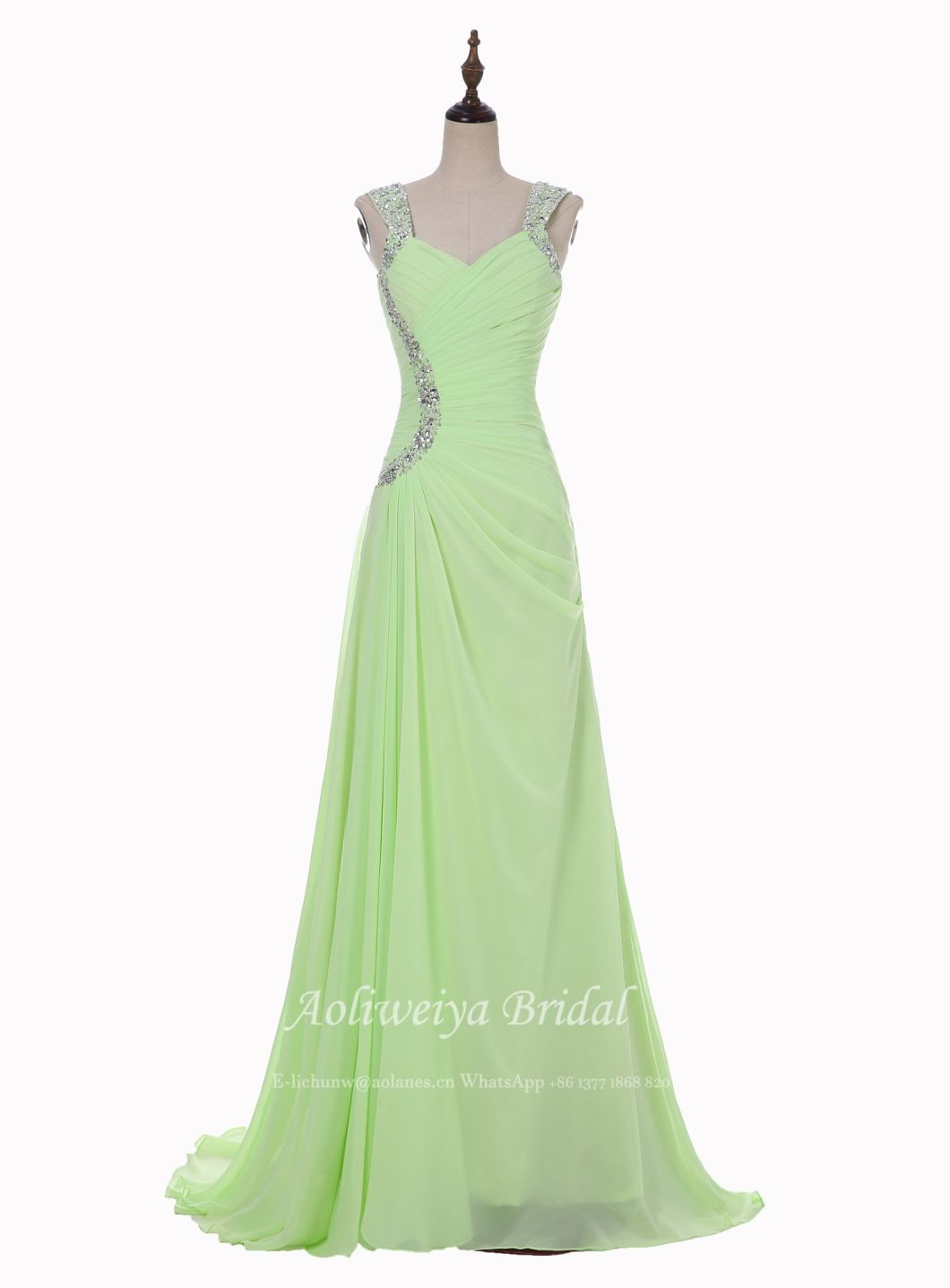 Aolanes Green Bride Evening Dress Any Color