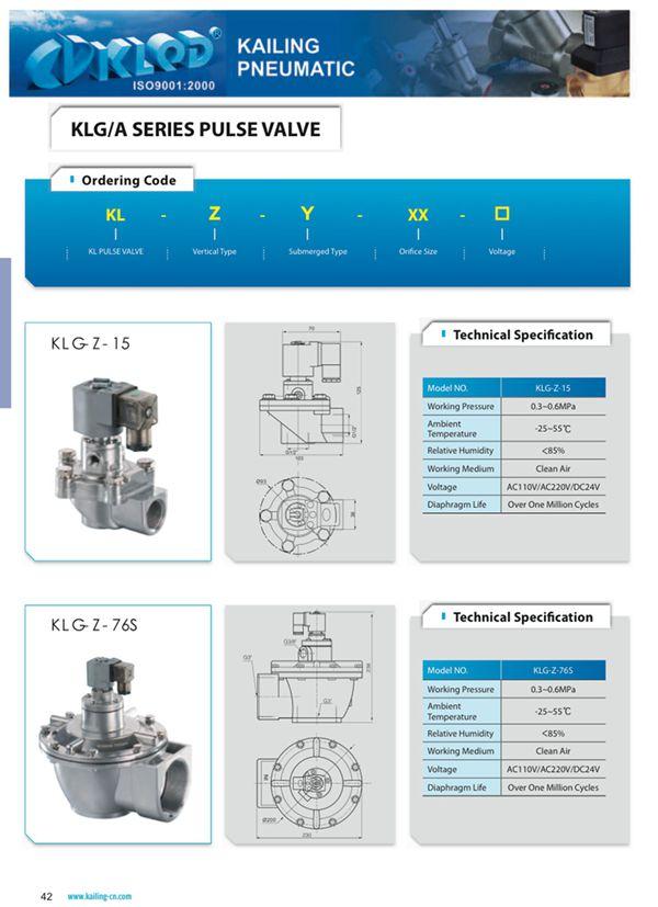 Klf Series Pneumatic Pulse Valve/ Diaphragm Structure