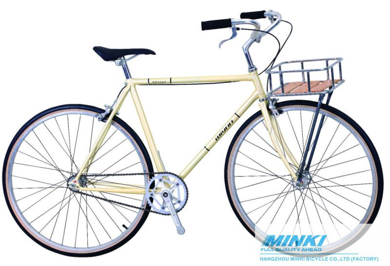 Fixed Gear Bicycle (Cog and Freewheel Included) with Basket
