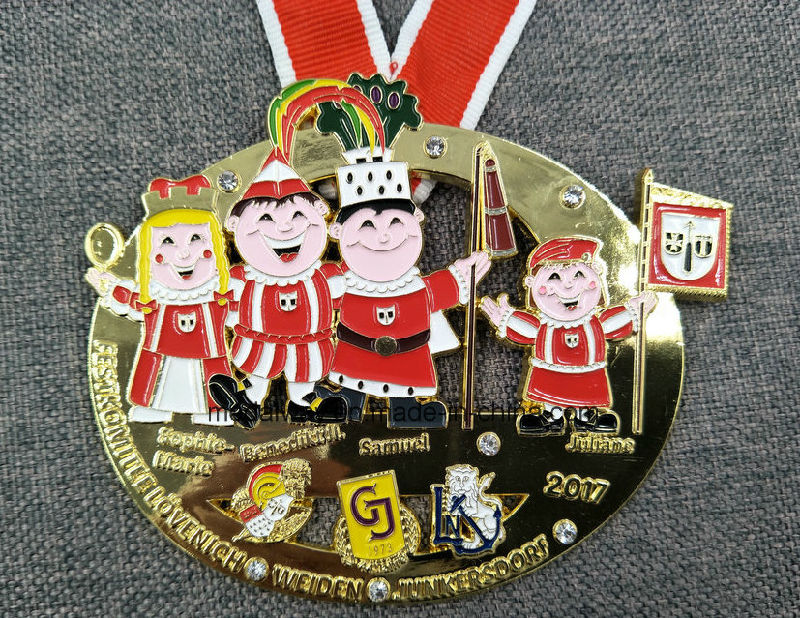Customized Die Casting with Dangling Pendent Enamelled Medal