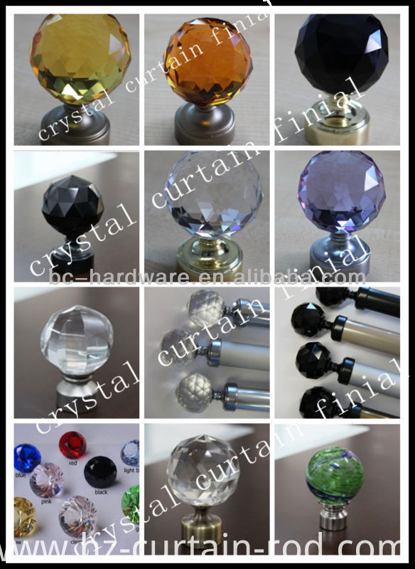 Curtains Ideas curtain rod crystal finials : China 60mm crystal curtain finial ,round crystal curtain rod ...
