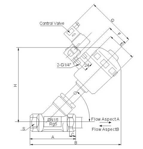Pneumatic Control Plastic Actuator Angle Seat Valve