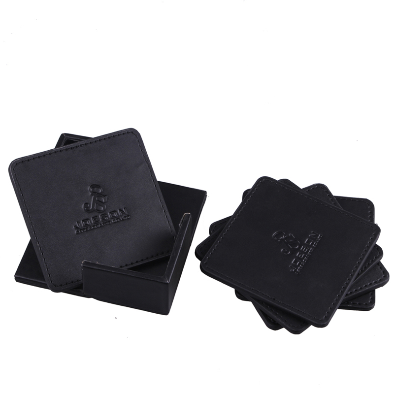China Supply Cheapest Logo Debossed Black PU Leather Coaster