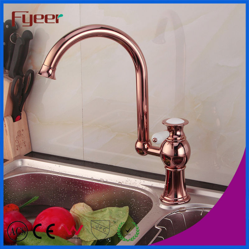 Fyeer Rose Gold 360 Swivel Kitchen Faucet for Double Sink