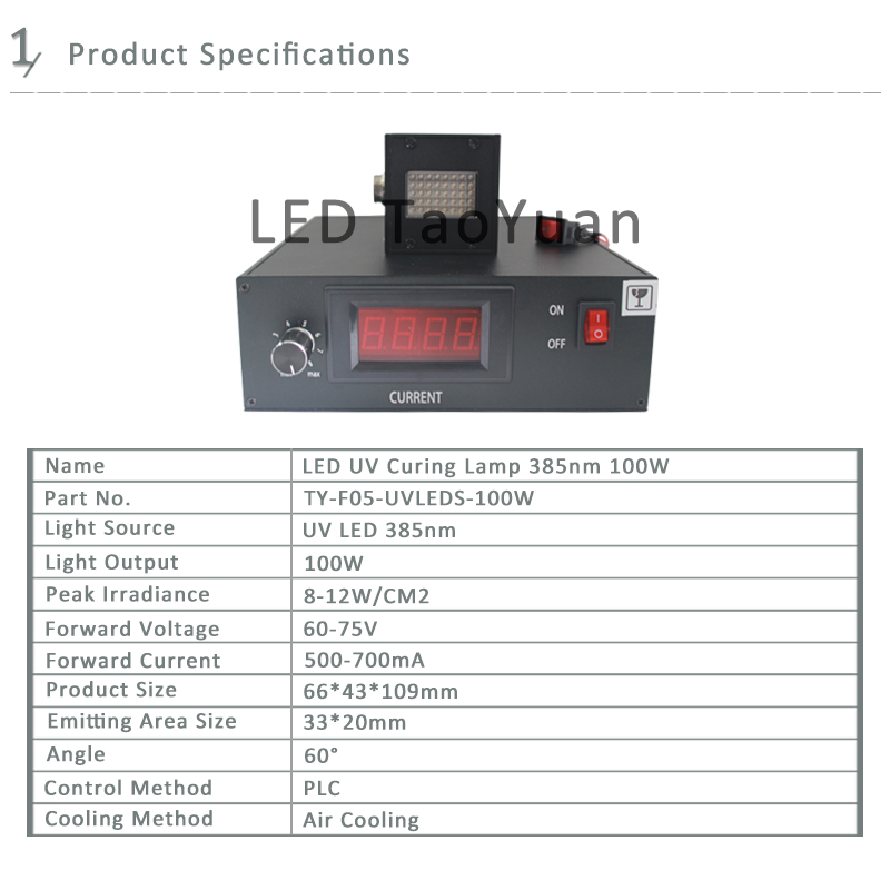 UV LED Lamp 385nm 100W System