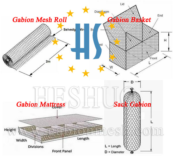 Galvanized Galfan PVC Coated Gabion Basket Prices