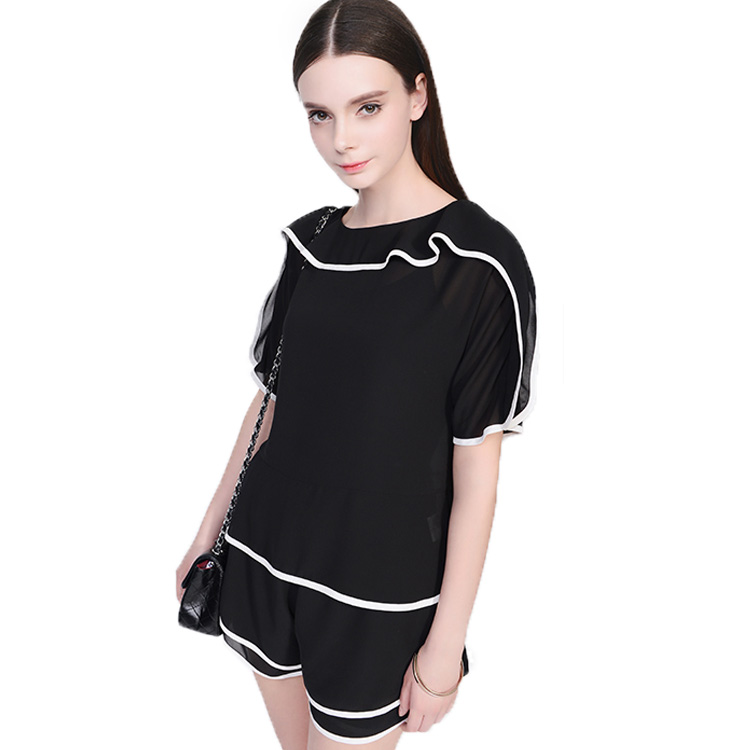 Suumer New Fashion Women Black Chiffon Suits