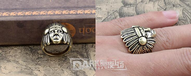 Fashion Ring Charm Copper Color Head of Indian Modeling