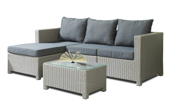 4PCS Rattan Chaise Lounge Garden Sofa Set