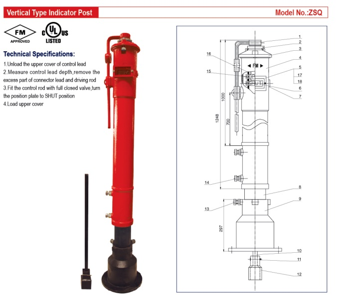 UL/FM-Vertical Type Indicator Post