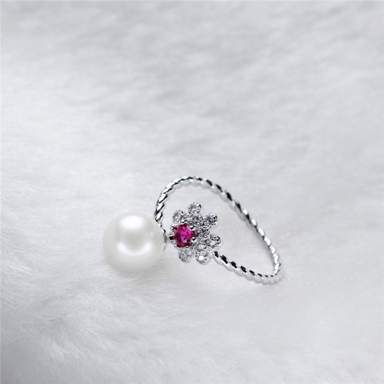 Flower Zircon Natural Freshwater 925 Sterling Silver Pearl Ring