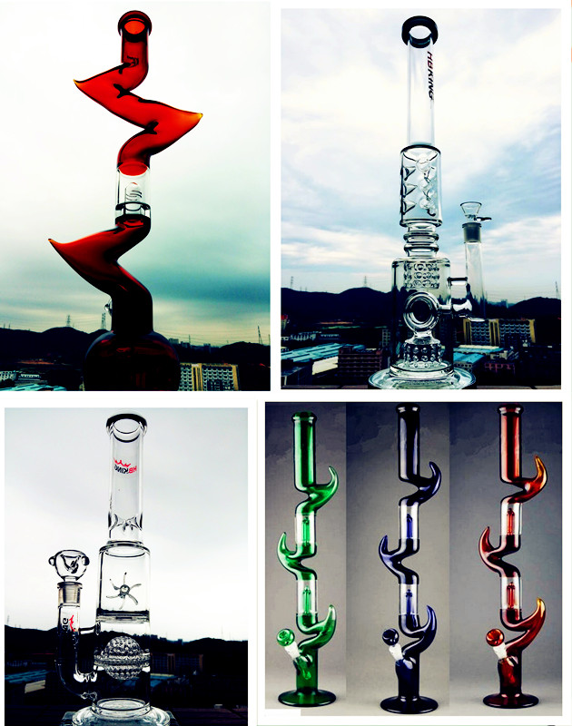 Tall Color Bowl Glass Craft Ashtray Shisha Hookah Borosilicate Recycler Glass Water Pipes Inventory for Tobacco Smoking Hookah